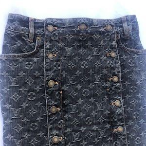 Authentic Louis Vuitton monogram denim skirt